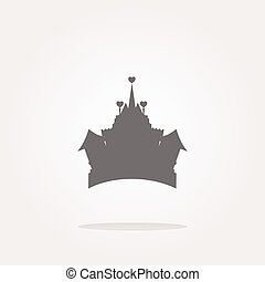 vector Medieval royal castle - web icon button isolated. Web Icon Art. Graphic Icon Drawing