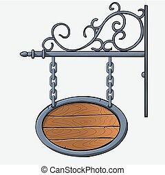 medieval wood sign - vector medieval wood sign hanging on...