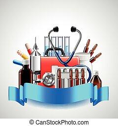 vector, medisch, voorwerpen, witte achtergrond