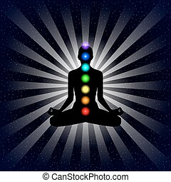 Vector meditation design concept. Silhouette in lotus position with seven chakras over night sky background.