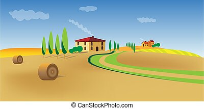 Vector mediterranean landscape. Beautiful cypress trees grow near lonely houses