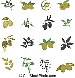 Vector mediterranean olive branches icons with oil drops, leaves and olives isolated on white background