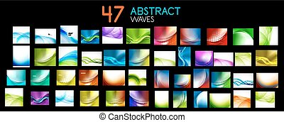 Vector mega collection of abstract waves