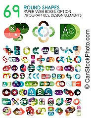 Vector mega collection of geometric round shapes paper style banner templates with sample text and options