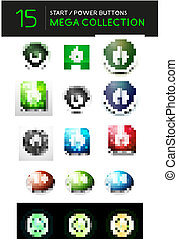 Vector mega set of abstract power buttons