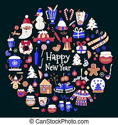 Vector mega set of Christmas and New Year elements with holiday objects and symbols