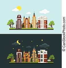 Vector megalopolis flat illustration