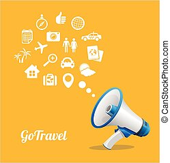 Vector Megaphone and icon. Travel concept