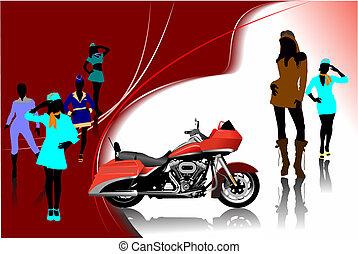 vector, meiden, illustratie, images., motorfiets, achtergrond