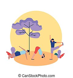vector, meiden, ontwerp, pose, yoga