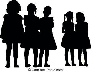 vector, meiden, samen, silhouette