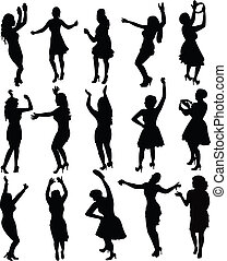 vector, meiden, silhouette, dancing