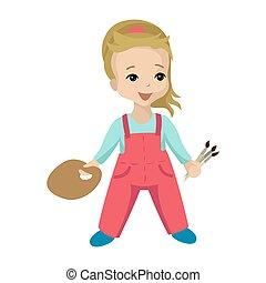 vector, meisje, karakter, hand., palet, borstels, kunstenaar