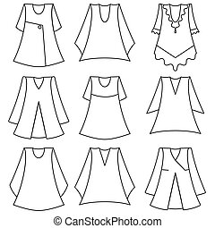 vector, meisje, set, jurken, modieus