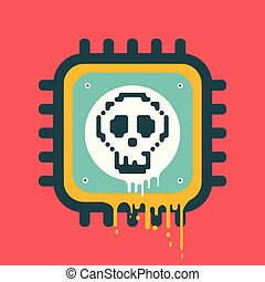 Vector melting CPU icon with skull cyber security