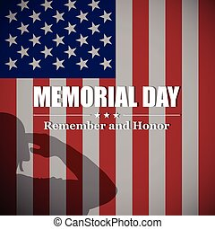 Vector Memorial Day background with soldier's silhouette and USA national flag.