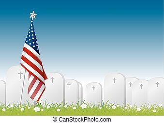 Vector Memorial day concept of American flag and gravestone on green grass with copy space