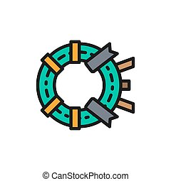 Vector memorial wreath, funeral ceremony flat color line icon.