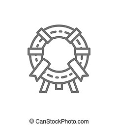 Vector memorial wreath, funeral ceremony line icon.