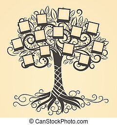 vector, memorias, árbol, foto