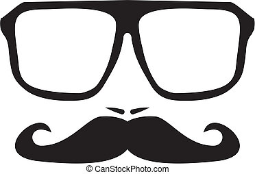 Vector men face with mustache and huge, hipster glasses. ...