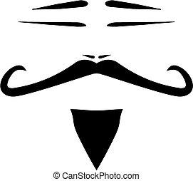 Vector men face with mustache