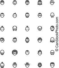Vector men faces icon set
