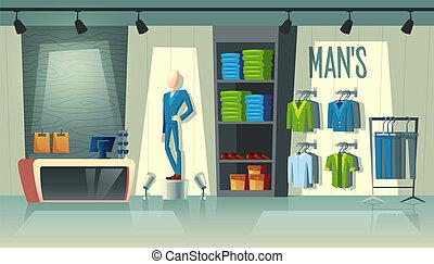 Vector men s clothing shop, male fashion boutique