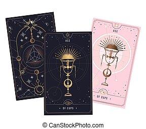 vector, menor, fondo., rosa, plata, secreto, oro, aislado, místico, blanco, cups., ilustración, symbols., oro, arcana, negro, tarjeta