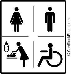 Vector mens and womens disabled restroom signage set - men, boy, women printable restroom, toilette signs