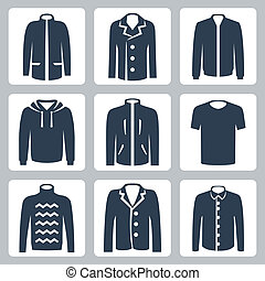 Vector men's clothes icons set: puffer jacket, coat,...