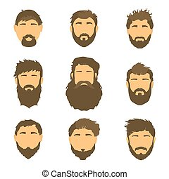 Vector men's hairstyle, illustration, hair on white isolated background.