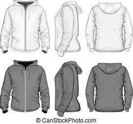 Men's hooded sweat-shirt with zipper - Vector. Men's hooded ...