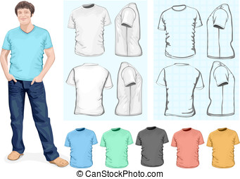 Men's t-shirt design template - Vector. Men's t-shirt design...