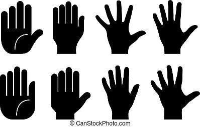 vector, menselijk, illustratie, handen