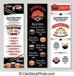 Vector menu banners for Japanese sushi restaurant - Japanese...