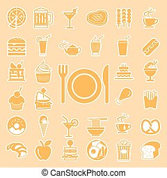 vector menu food and drink icons set