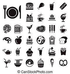 vector menu food and drink icons set