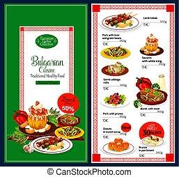 Vector menu for Bulgarian cuisine dishes - Bulgarian cuisine...