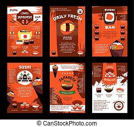 Vector menu for Japanese food sushi bar restaurant