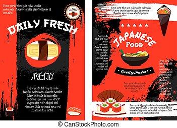 Vector menu poster for Japanese food - Japanese restaurant...