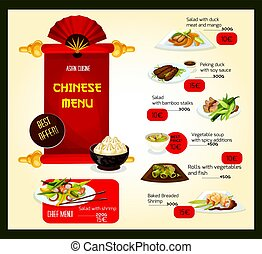 Vector menu template of Chinese cuisine restaurant