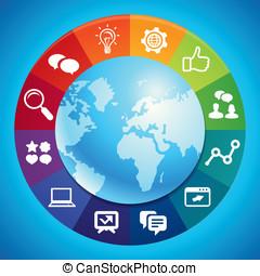 vector, mercadotecnia, concepto, internet