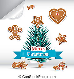 Vector Merry Christmas Background with Gingerbread
