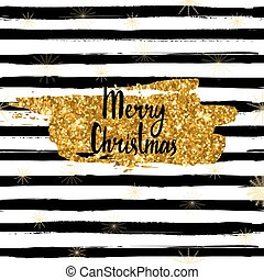 Vector Merry Christmas card, hand drawn font, brushstroke with gold glitter. Illustration isolated on striped background. Golden snowflakes