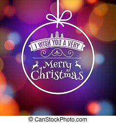 Vector Merry Christmas card poster design. Invitation template for xmas holiday. Greeting ball decoration
