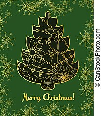 Merry Christmas card with golden tree and snowflakes