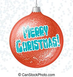 Vector Merry Christmas card with brilliant glossy ball