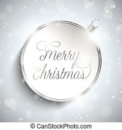 Merry Christmas Happy New Year Ball Silver with Stars and Snowfl