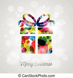 Vector Merry Christmas Holiday illustration with abstract gift box design on shiny background